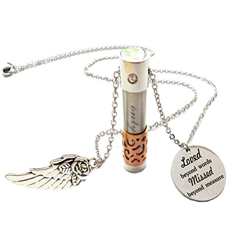 (Memorial gift Loved Beyond Words Missed Beyond Measure Cremation Keepsake,Memorial Urn ashes necklace.)