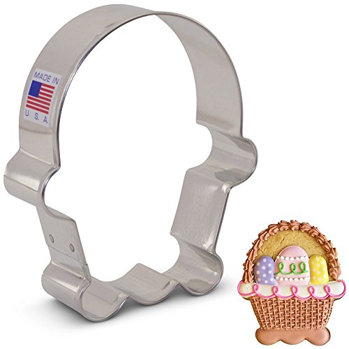 Flour Box Bakery's Easter Basket Cookie Cutter - 3.75 Inch - Ann Clark - US Tin Plated Steel - Bunny Basket Craft
