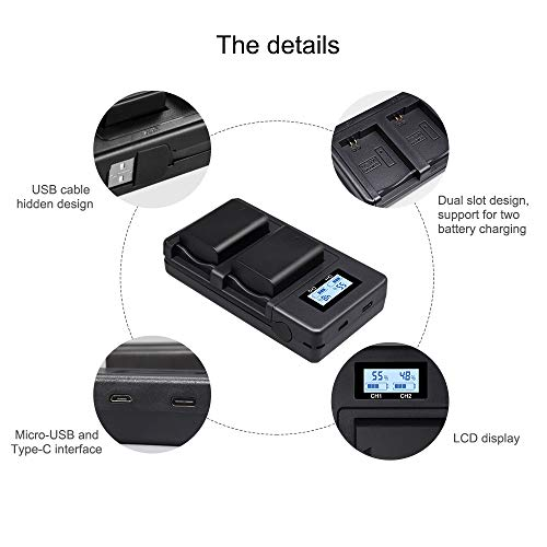 PALO NP-FW50 Battery Charger,Dual USB Battery Charger for Sony a7, a7 II, a7R, a7R II, a7S, a7S II, A600, A6500, A6300, A55, A5100- Upgraded Charger