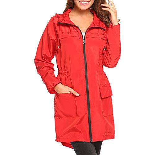 ZFFde Invierno Chaqueta de lluvia con capucha impermeable de la manga larga de las mujeres Chaqueta de bolsillo larga al aire libre que va de excursión (Color : Red, tamaño : M)
