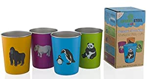 Stainless Steel Cups for Kids - Fun Animal Edition (4 Pack) by Greens Steel (10oz Colour)