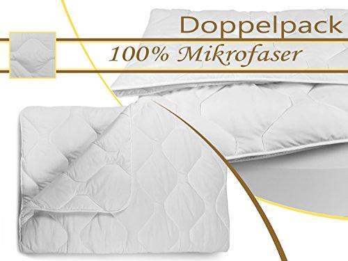 Doppelpack zum Sparpreis - klassische Steppbettdecken für erholsamen Schlaf - geprüft nach Öko-Tex Standard 100 - erhältlich in 3 verschiedenen Größen, 155 x 220 cm