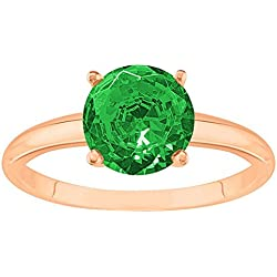 1/2 - 5 Carat 18K Rose Gold Round Emerald 4 Prong Diamond Engagement Ring (AAA Quality)