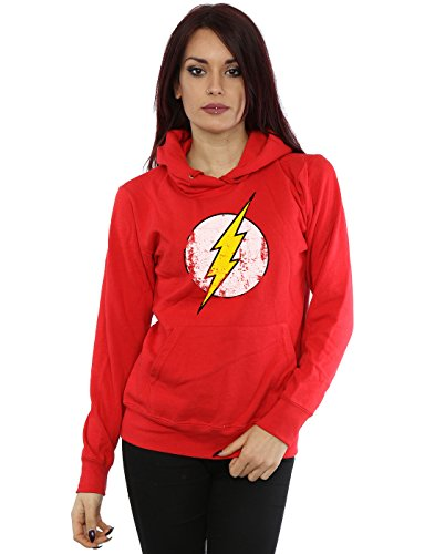 DC Comics Women's Flash Distressed Logo Hoodie X-Small Red