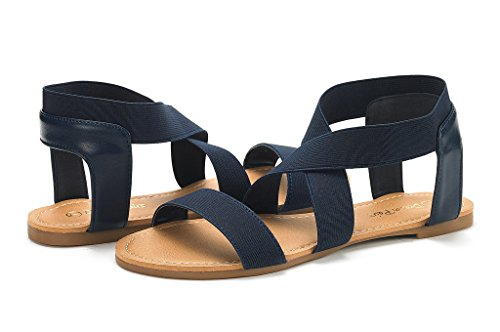 DREAM PAIRS Womens ELATICA Elastic Ankle Strap Flat Sandals Navy 2aDteP