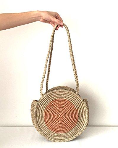 Natural Rose Gold Round Straw Raffia Shoulder bag/Handwoven bag/Handbag / Summer Tote/Gifts for her/Handmade / Basket Beach Bag