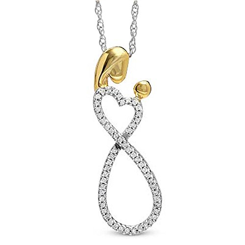 Dazzlingrock Collection 0.10 Carat ctw Round Diamond Mothers day Special Mom Child Ladies Pendant 1 10 CT, Sterling Silver