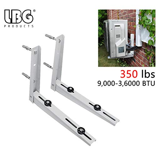 LBG Products Universal Heavy Duty Outdoor Wall Mounting Bracket for Ductless Mini Split Air Conditioner Condenser Unit,Heat Pump Systems, Support up to 350lbs(9000-36000BTU)