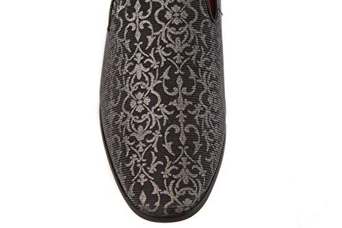 Alberto Fellini Mocasines Para Hombres-zapatos Slip-on Satén Charol Formal Negocios Vestido O Moda Plata