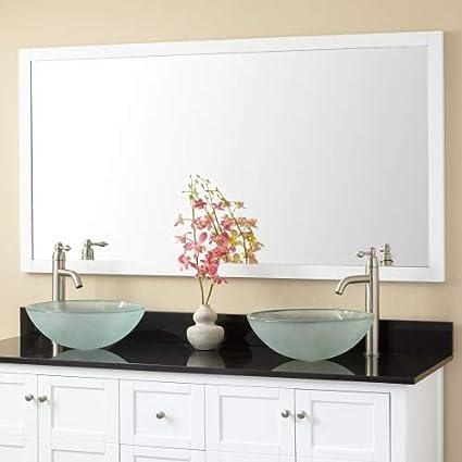 wood framed vanity mirrors double bathroom signature hardware 404748 everett 60quot 3112quot rectangular flat wood amazoncom 60