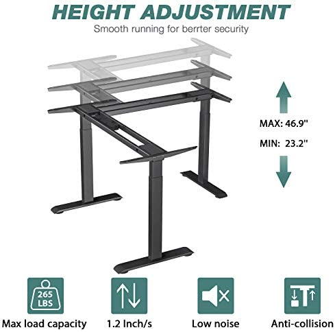 L-Shaped Electric Stand Up Desk Frame
