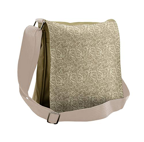 Lunarable Floral Messenger Bag, Flourishing Long Curvy Stems, Unisex Cross-body