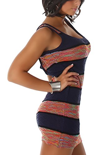 voyelles Mujer feins Trick de vestido de punto para/Long de Top en tiras de patrón de rayas & onda Look con colores vivos (Talla Única 34, 36, 38) azul oscuro