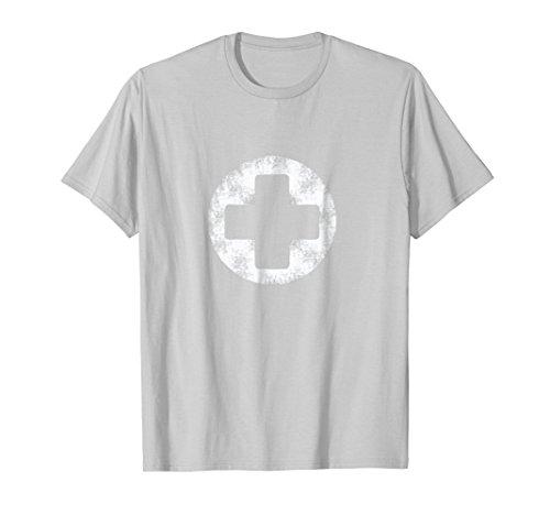 White Faux-Vintage Stone Nurse Lifeguards Cross T-Shirt
