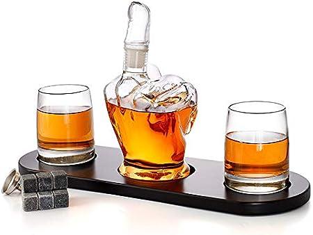 Juego De Decantador De Whisky con Forma De Dedo Medio, Botella Jarra De Cristal Wiskey De 1000 Ml, 2 Copas De Vino De 330 Ml, Vasos Licor Personalizado, Licorera Wiski Vintage, Decanter Vodka
