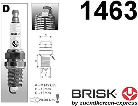 BRISK Silver DR17YS-9 1463 Bujías de Encendido Benzin LPG CNG ...