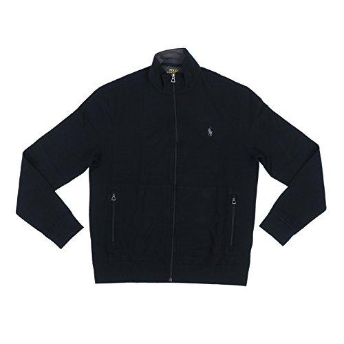 Polo Ralph Lauren Mens Full Zip Track Jacket (Large, Black)