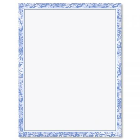 Blue Alluring Border Letter Papers - Set of 25 Floral Stationery Papers are 8 1/2