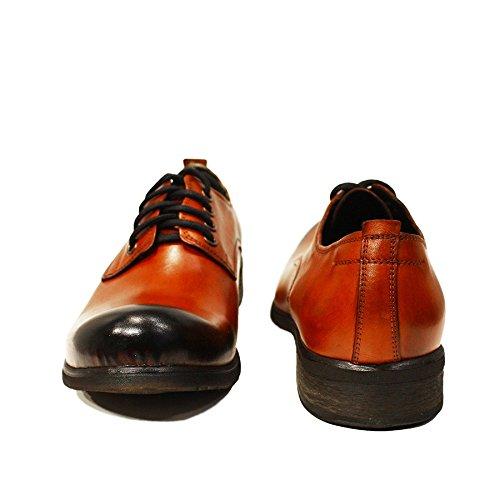 Modello Schnüren Oxfords Handgemachtes Rindsleder Abendschuhe Herren Leder Gerardo Italienisch Handgemalte Leder Orange Schnürhalbschuhe CC7rRq