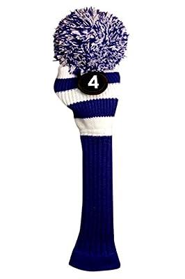 Majek #4 Hybrid Rescue Utility Blue & White Golf Headcover Knit Pom Pom Retro Classic Vintage Head Cover