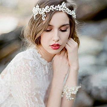 Aukmla Wedding Pearl Hair Vine Crystal Headbands And Bracelet Set Bridal Hair Wreath Silver Beads