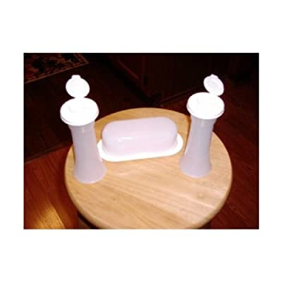 Tupperware TableTop Accessory Set Butter Dish with Salt & Pepper Shakers in White