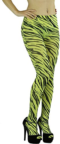 ToBeInStyle Women's Yellow Opaque Pantyhose with Black Zebra Stripe Print