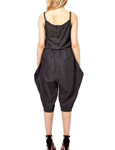 Pink Queen® Black Women Jean Rompers Strap Back Zipper Seven Jumpsuit L