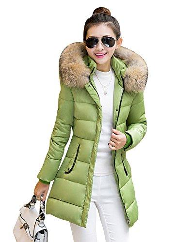 LaoZan Abrigo de invierno Chaqueta anoraks chaqueta Manga larga / Abrigo largo con capucha Para Mujer Verde