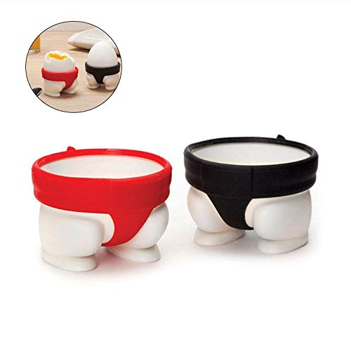 KOBWA Silicone Egg Cups, Sumo Eggs Cups Holders Creative Design Perfect for Serving Hard and Soft Boiled Eggs and Compliments any Breakfast Place Setting
