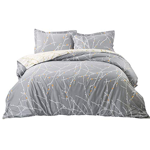 Bedsure Duvet Cover Set with Zipper Closure-Grey/Ivory Printed Pattern,King (104x90 inches)-3 Pieces (1 Duvet Cover + 2 Pillow Shams)-110 GSM Ultra Soft Hypoallergenic Microfiber (Yellow Grey And Cover Duvet)