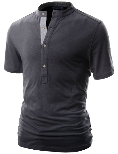 Doublju Mens Henley T-shirts with Short Sleeve CHARCOAL (US-M)