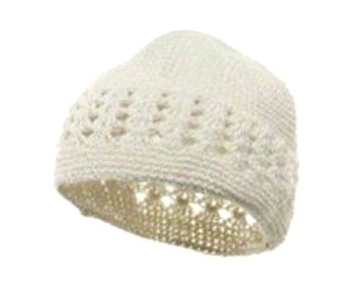 - Knit Kufi Hat - Koopy Cap - Crochet Beanie (White)