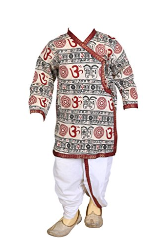 Kurta Dhoti (FOCIL pongal/Makar Sankranti Special Cream Om Printed Dhoti & Kurta Pant Set For Kids)