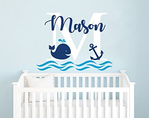 Boys Name Wall Decal/Whale Wall Decal/Nursery Baby Boy Room Decor/Anchor Wall Decal/Nautical Decor/Wall Vinyl Sticker Decals F71 by NurseryDecalsStore