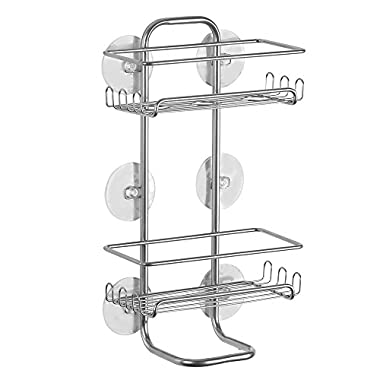InterDesign Classico Suction Bathroom Shower Caddy Shelves for Shampoo, Conditioner, Soap - Jumbo, Silver