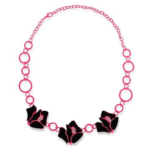 Triple Circle Link Chain - Huan Xun Triple Black Enamel Rose Charm Circle Link Chain Necklace