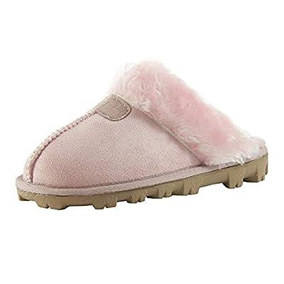 CLPP'LI Womens Slip On Faux Fur Warm Winter Mules Fluffy Suede Comfy Slippers