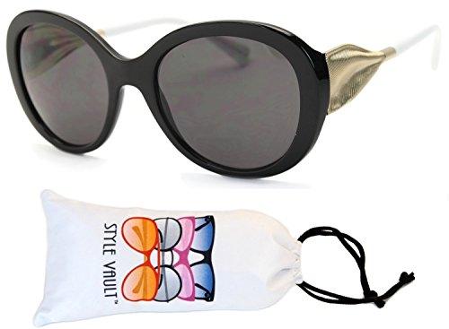 Wm3019-vp Style Vault Oversized Sunglasses (S2882V Black/white/gold-dark, clear)