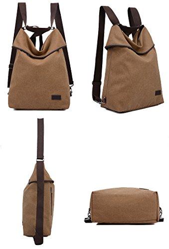 Canvas DLMBB Purse Daypack Brown Multifunction Crossbody Women Casual Bag Backpack Travel Shoulder xIUTI7q