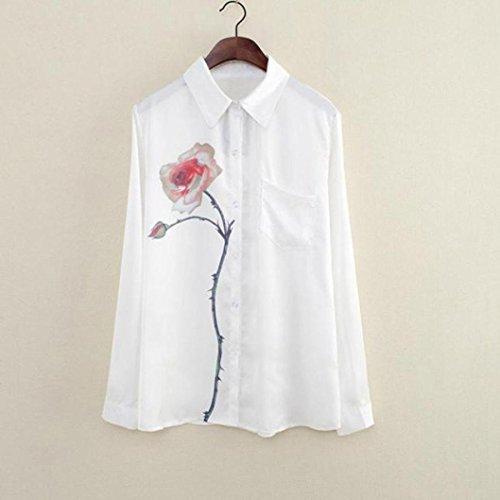 Grande Blouses S Manche Mousseline en Chemises Revers Chemises Wolfleague Femmes Imprimer XXL Blanc Taille Rose Longue ~ Filles Eq1nOF