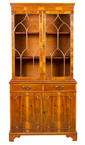 Antique English Yew Wood Bookcase (Yew Wood Furniture)