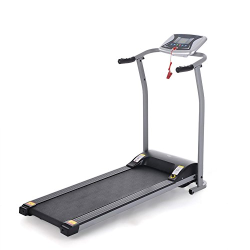 Opino Folding Electric Treadmill, Easy Assembly Motorized Incline Running Machine for Home, Office (Silver)