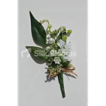 Ivory White & Green Lily of the Valley & Jasmine Buttonhole