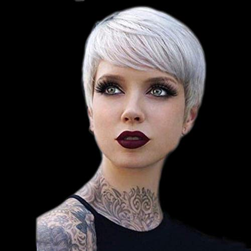 - Short Synthetic Natural Short Synthetic Hair Wigs Silver Cut Pixie Wig Heat Resistant Fiber Hair for Black Women,A