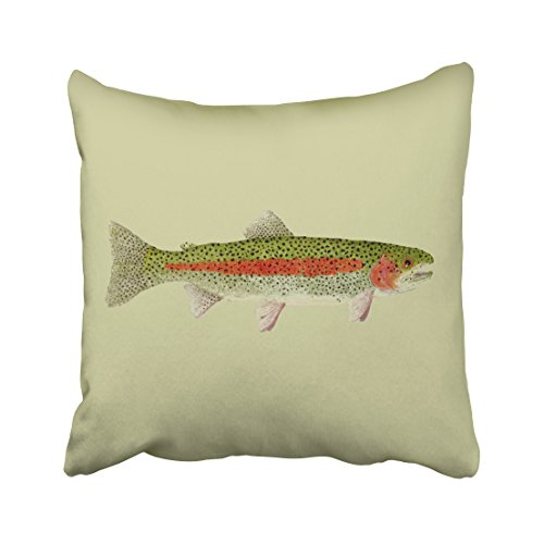 (Shorping Zippered Pillow Covers Pillowcases 18X18 Inch Trout Rainbow Brown Trouts Lumbar Pillow Decorative Throw Pillow Cover,Pillow Cases Cushion Cover for Home Sofa Bedding )