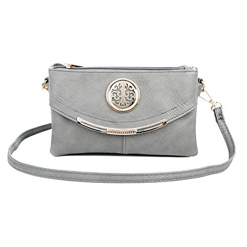 Craze London NEW Womens Small Clutch Bags with Wristlet and Long Adjustable Strap,Adjustable strap With Purse or small Shoulder bag Light Grey