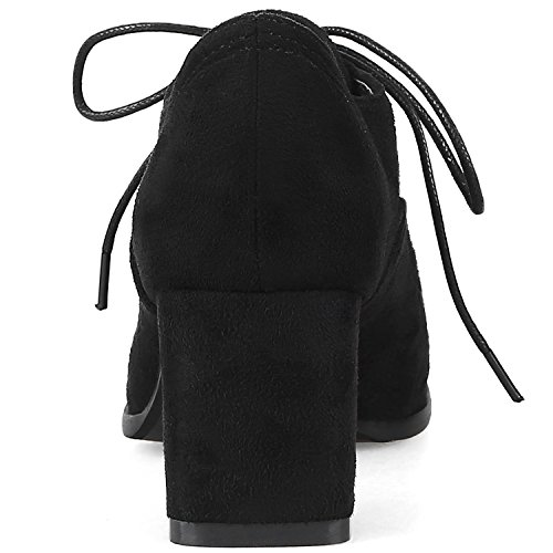 Boots Comfortable Black Chunky Short Casual Lace Women BIGTREE By Ankle Suede Boots up 4qEwO0T