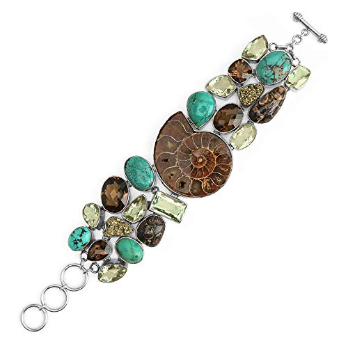 Jewelry to Your Doorstep OMG Gorgeous Ammonite, Turquoise, Green Amethyst, Smoky Quartz, Jasper and Pyrite Sterling Silver Statement Legacy Bracelet-one of a Kind