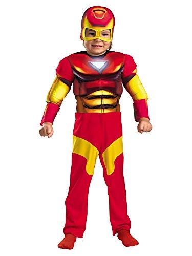 Marvel Comics Toddler Boys Iron Man Muscle Costume & Mask Ironman (Real Costume Iron Man)